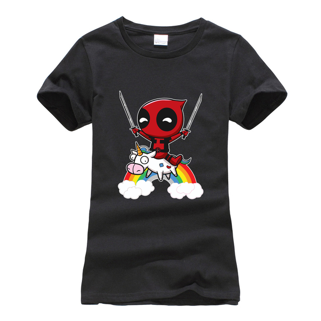 deadpool animal cartoon camisetas tee shirt femme 2019 summer women short sleeve t-shirts cotton o-neck harajuku t shirts cute