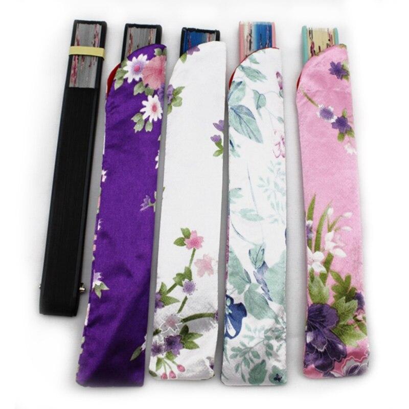 1 Pcs Hand Fan Multicolor Exquisite Handmade Craft Arc Opening Wedding Home Decor Silk Satin Bag Fan Accessories