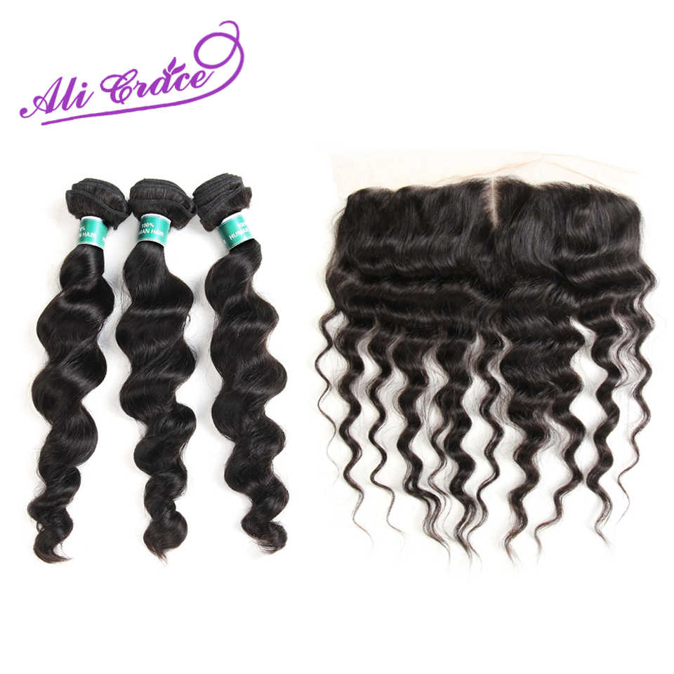 Ali Grace Hair Peruvian Loose Wave With Closure 3 Bundles With 13*4 Free Part Middle Part Ear to Ear Lace Frontal Remy Hair