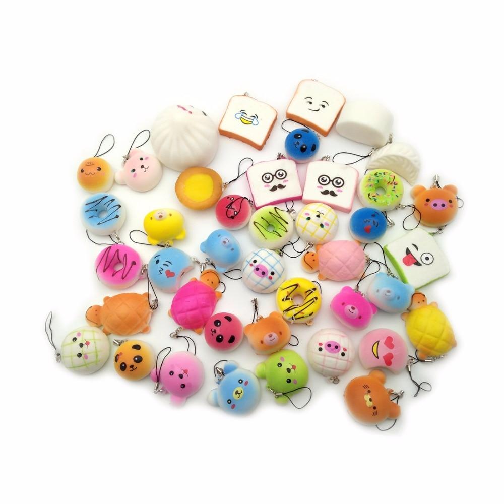 bilder für Heißer Verkauf 10 teile/satz Squishy Spielzeug Kawaii Squishies Brot Kuchen Donuts Telefon Lanyard Gurt Geschenke