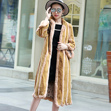 Women Winter Plus Size 6XL Faux Rex Rabbit Fur Coat Long Full Sleeve Stripe Color Faux Fur Outerwear XHSD-150
