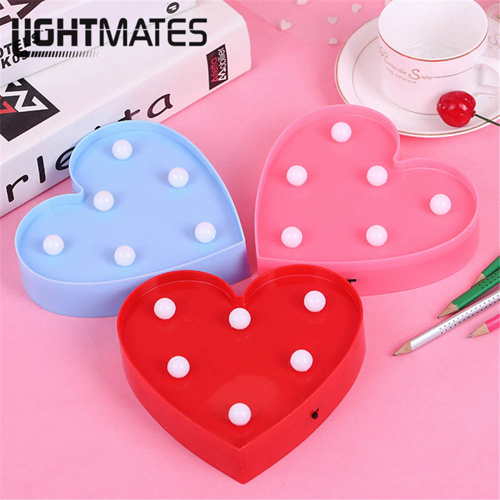 Heart Shape LED Night Light Lamp Wall Lamp Battery Operated Night Lamps for Home Baby Kids Bedroom Party Valentine's Day Decor стулья для салона led by heart 2015