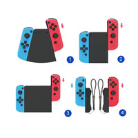 5-in-1 Left+Right Hand Grip Connector Pack for Nintend Switch NS Joy-Con Controller Gamepad ABS Handle Grip Connect Holder Stand