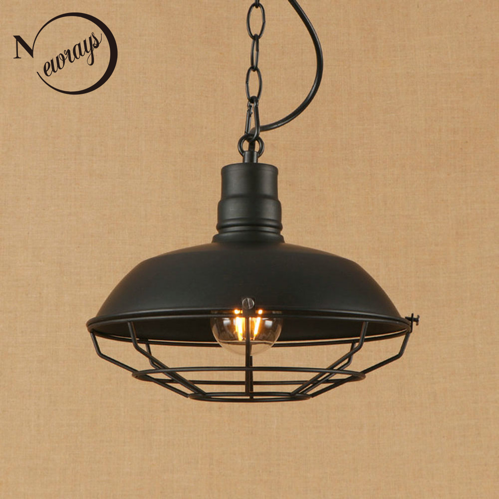 Vintage industrial iron cages pendant light LED E27 simple country hanging lamp for kitchen parlor cafe restaurant hotel bar vintage iron pendant light industrial lighting glass guard design cage pendant lamp hanging lights e27 bar cafe restaurant