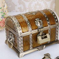 20*13*12.8cm Metal Alloy Treasure Box Chest Vintage Home Decoration Jewelry Case Birthday Gift For Friend ZA4656