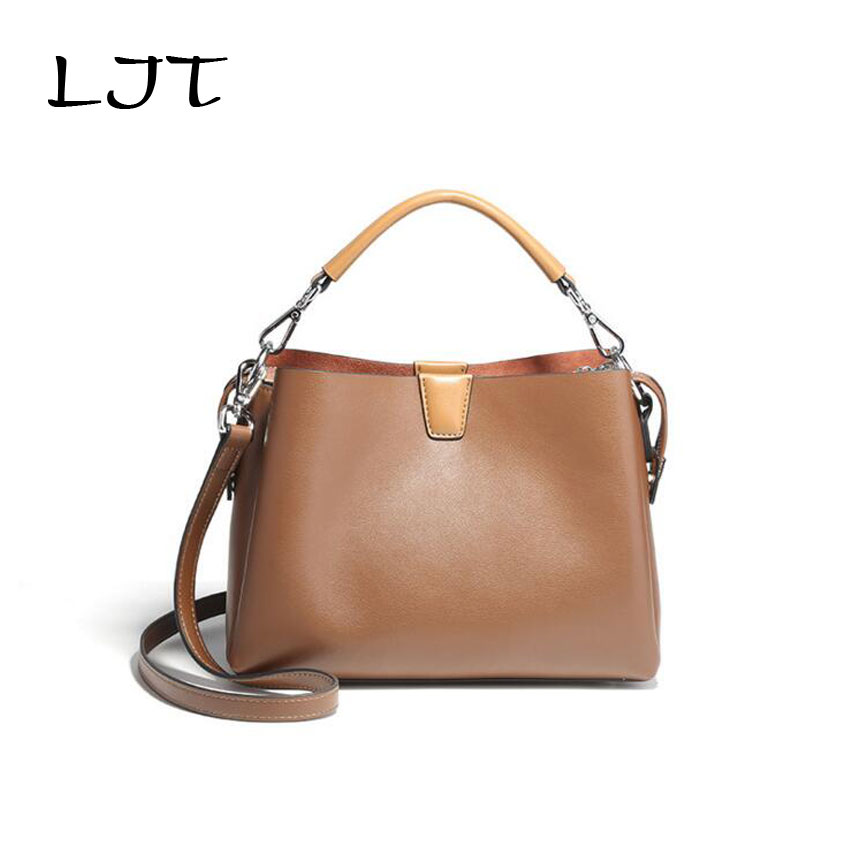 LJT 2017 Autumn Winter Genuine Leather Women Shoulder Bag Luxury Handbags Personalitized Casual Lady Messenger Top-handle Bags 2018 autumn and winter luxury women s