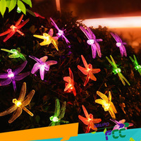 New 4 8m Dragonfly Panel Solar Lamp Kerstverlichting Outdoor Party Garden Christmas LED String Lights Decorative