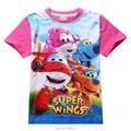 Супер крылья тенниска детей мультфильм одежда лето топы новый год мальчики девочки ребенка рябить реглан рубашки с коротким рукавом Shopkins