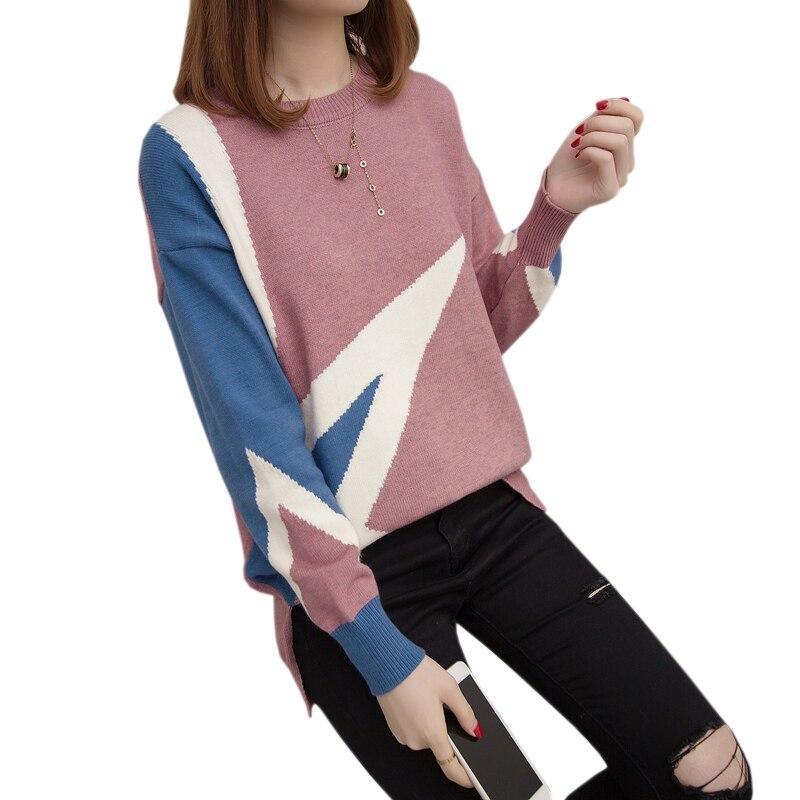 Col Manches Mode De Femmes Lâche Vêtements Longues Brown Hiver Couleur Pull En Patchwork Roulé pink Coréenne black Nouvelle Haut Tricot Pulls À xTIq0Yt