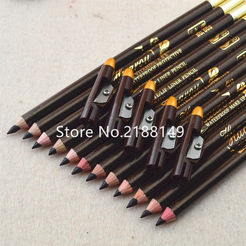 High quality Brown Color Dark Coffee Waterproof Eyeliner Lipliner Pencil With Pencil sharpeners 12PCS/lot