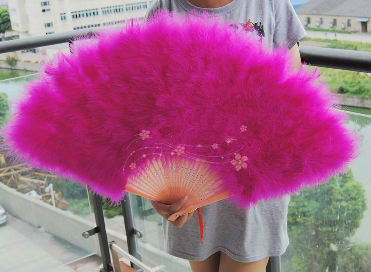 1pc Feather Fan Full Down Thicken Extra Large Feather Fan Dancing Craft Fan Stage Props Fan 80*45cm