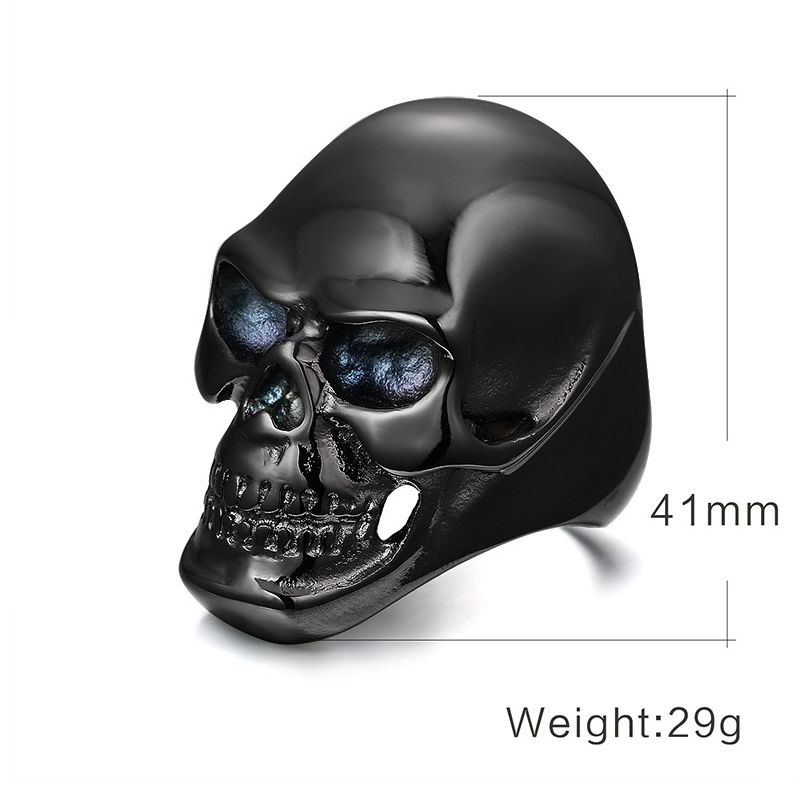 New Arrival Black Skull Ring Men Stainless Steel Metal Big Spike Male Biker Jewelry Halloween Undead Decorations Accessories