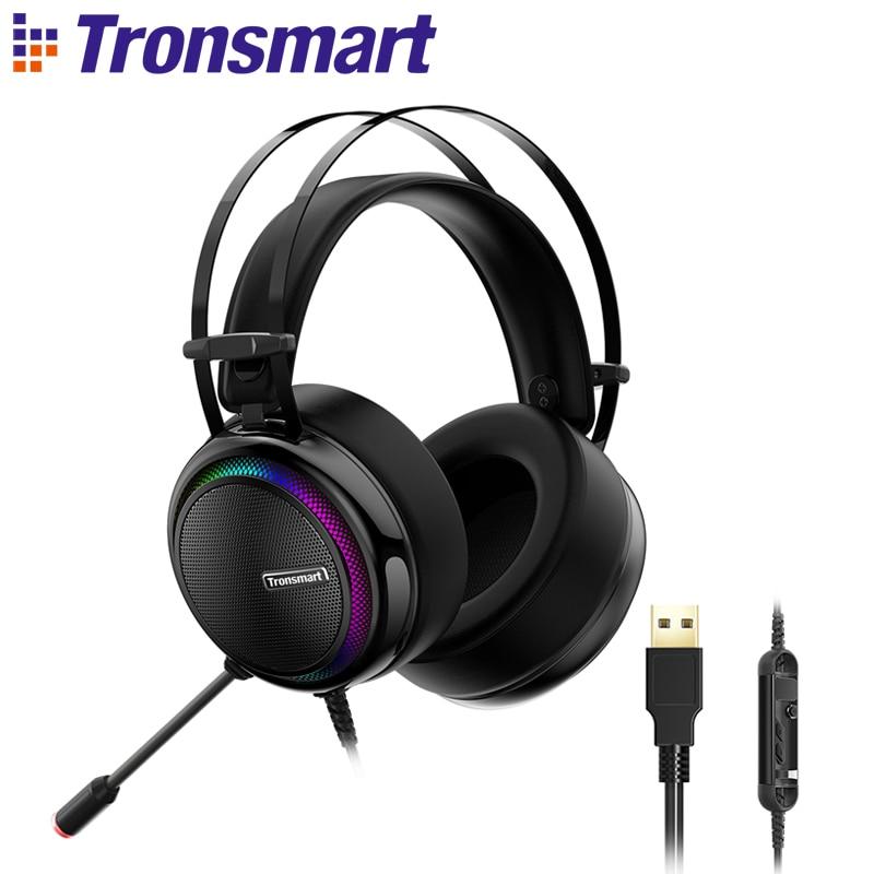 Tronsmart Glary casque de jeu PS4 casque virtuel 7.1, Interface USB filaire PC casque pour nintendo switch, ordinateur, ordinateur portable