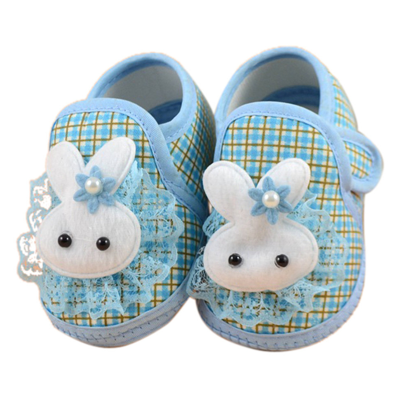 2018 Newborn Boy Girl Blue Soft Sole Crib Toddler Shoes Canvas Sneaker Bunny Magic Sticky 1204