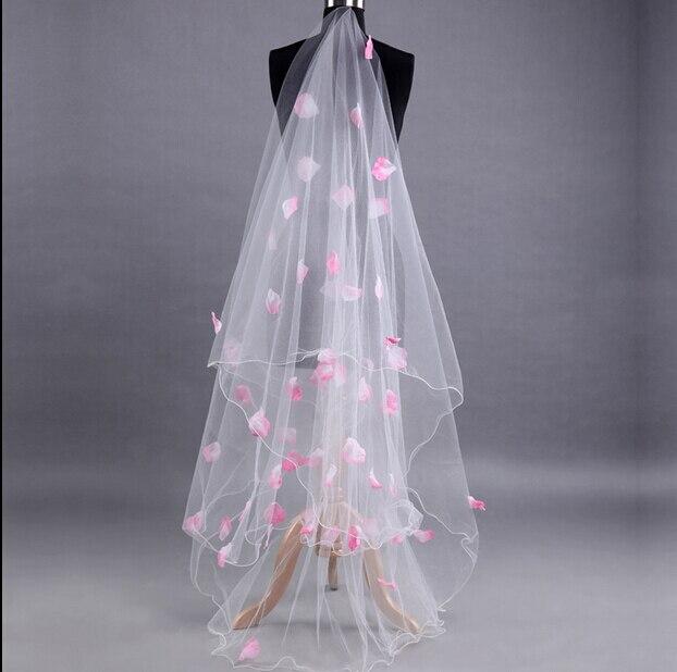 Wedding Veil Lace Bride White Applique Flower Tulle Long Bridal 2017 Veu De Noiva veils