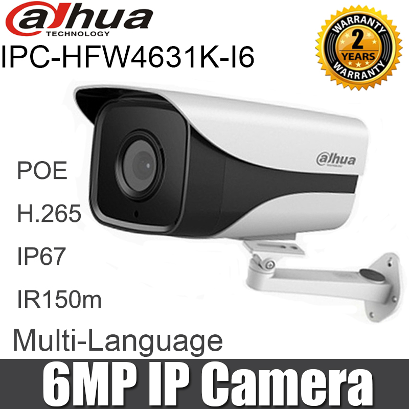 Dahua 6MP IP Camera IPC HFW4631K I6 POE IP67 IR150m CCTV camera with bracket English firmware