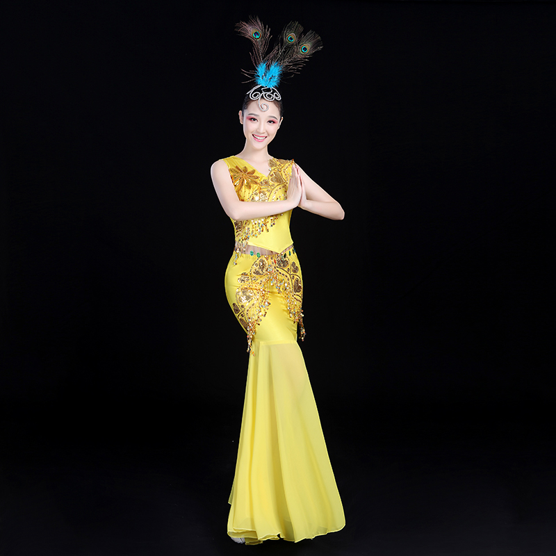 Chinese New Peacock Dance Dress Costume Gradual Change Fishtail Skirt Performance Dress for Adult Women Stage Performance