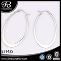 316L Stainless Steel Silver Flat Oval Hoop Earrings, Shiny Polishing, Elegant Jewelry for Women, Factory Promotion