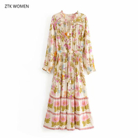 ZTK 2019 new autumn women bohemian dress long sleeve floral printed cotton maxidress beach holidy white loose long pleatedress
