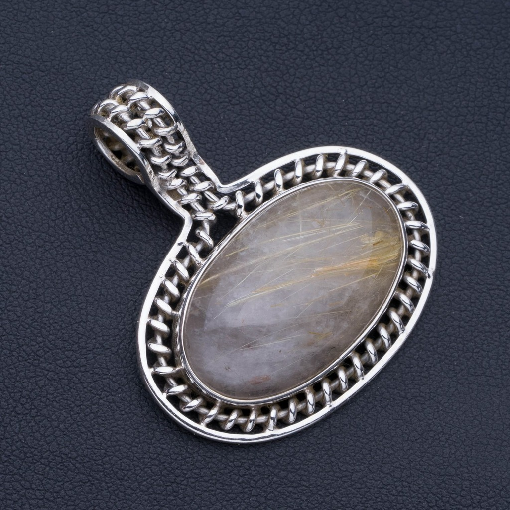 Natural Rutilated Quartz Punk Style 925 Sterling Silver Pendant 1 1/2 P0715Natural Rutilated Quartz Punk Style 925 Sterling Silver Pendant 1 1/2 P0715