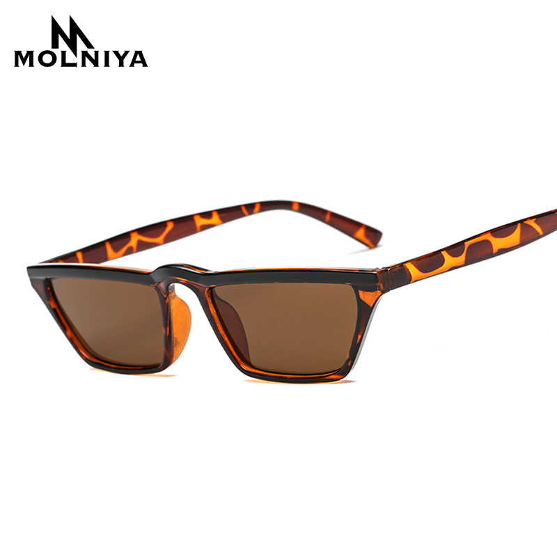 MOLNIYA Square Small Sunglasses Women Flat Top 2018 Cute Retro Leopard Black Red Cat Eye Sun Glasses For women men uv400