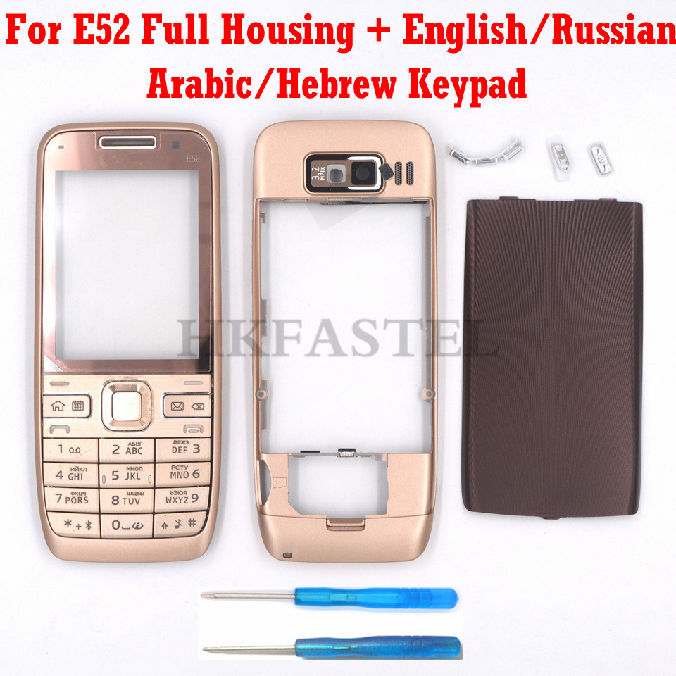 For Nokia E52 Brandnew Full Complete Mobile Phone Housing Cover Case Keyboard English Russian Arabic Hebrew Keypad Free Shipping