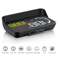 Car HUD OBD Head Up Display Speedometer Windshield Projector Fatigue Alarm Fuel 3.8 Inch Speed Gauge Overspeed RPM Voltage