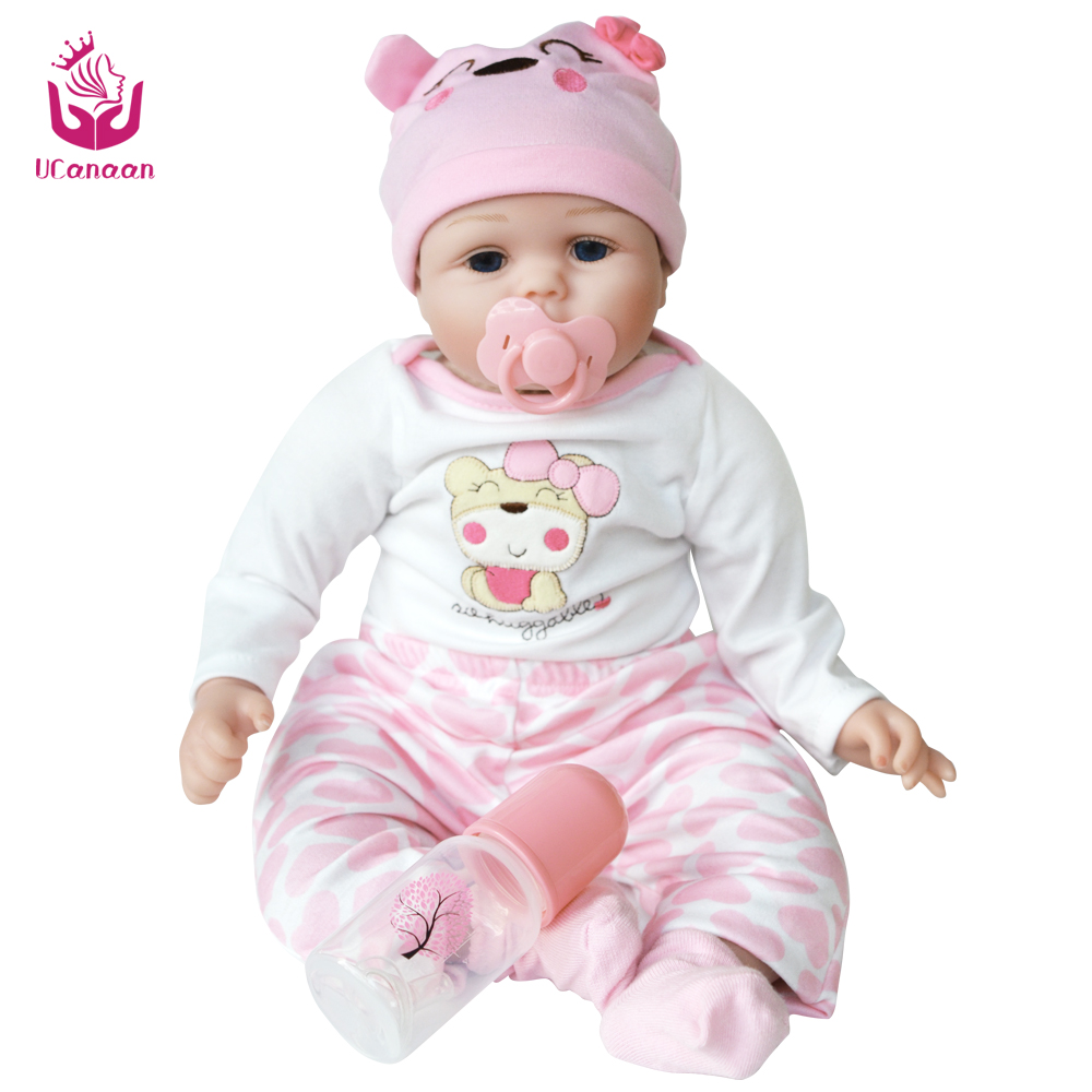UCanaan Doll Reborn 55CM Soft Real Silicone Reborn Baby Doll Vinyl Toys For Children 3-7 Years Old Kids Gift Toy все цены