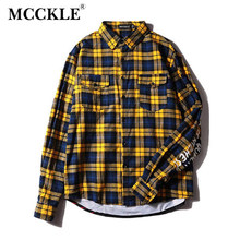 MCCKLE 2018 Spring Unisex Plaid Dress jacket Mens Hip Hop Shark Printed Long Sleeve Jacket Male Casual Extended Streetwear(China)