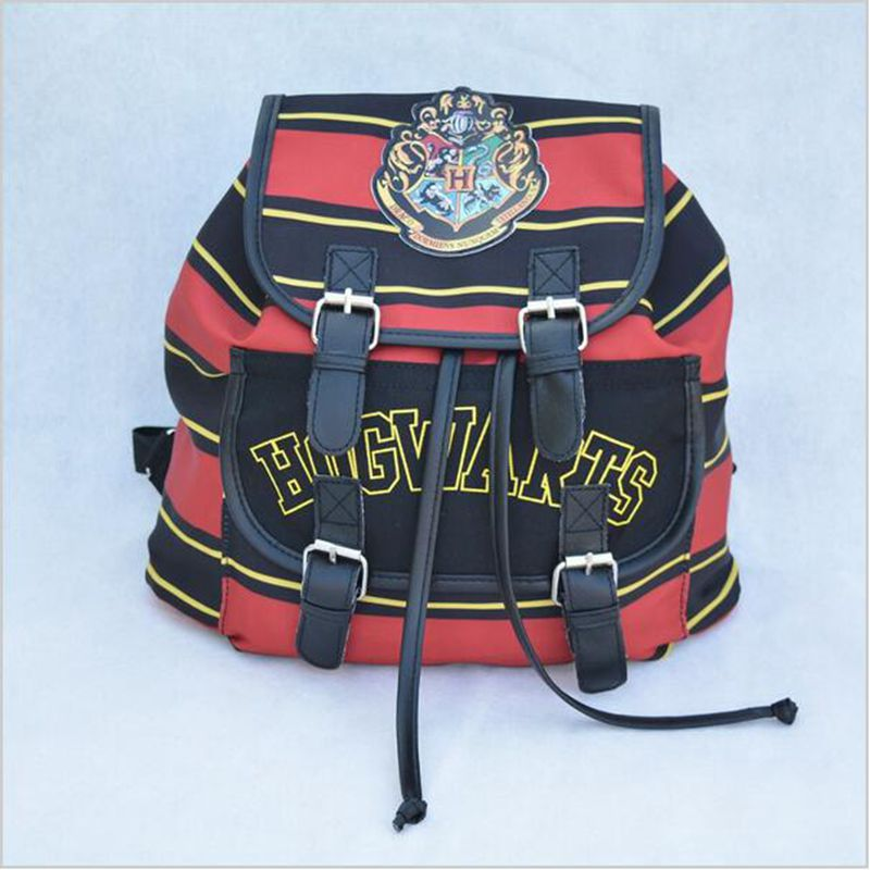 Harry Potter Backpack Printing Stripped Canvas Cartoon Harry Potter Buckle Slouch Children School bag mochila feminina