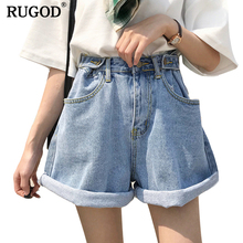RUGOD 2019 New Spring Summer Casual High adjustable Waist Denim Shorts  Women Loose Style Wide Leg Jeans short feminino