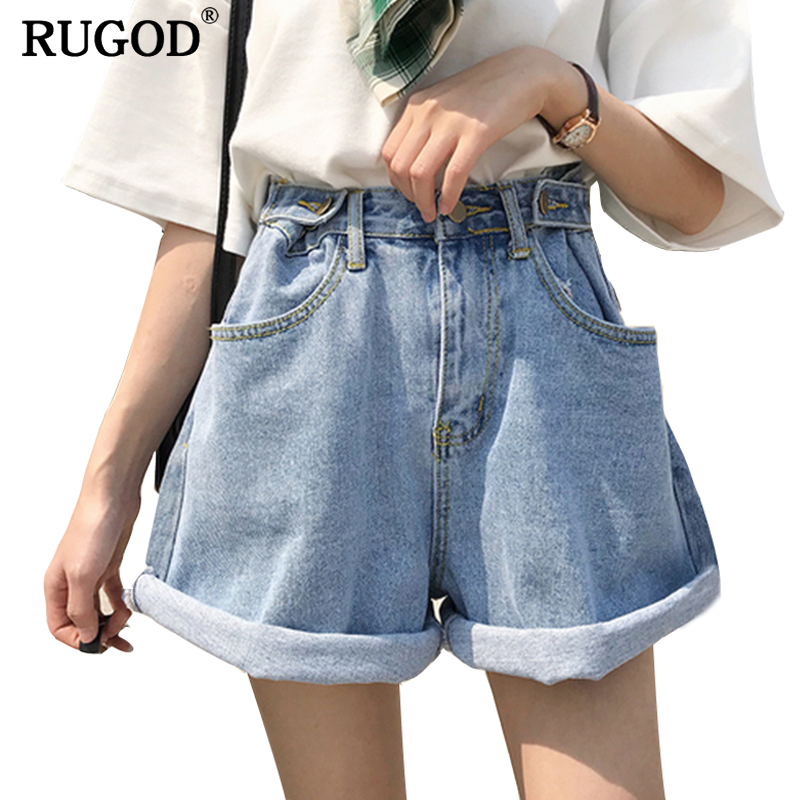 RUGOD 2019 New Spring Summer Casual High adjustable Waist Denim   Shorts   Women Loose Style Wide Leg Jeans   Shorts     short   feminino