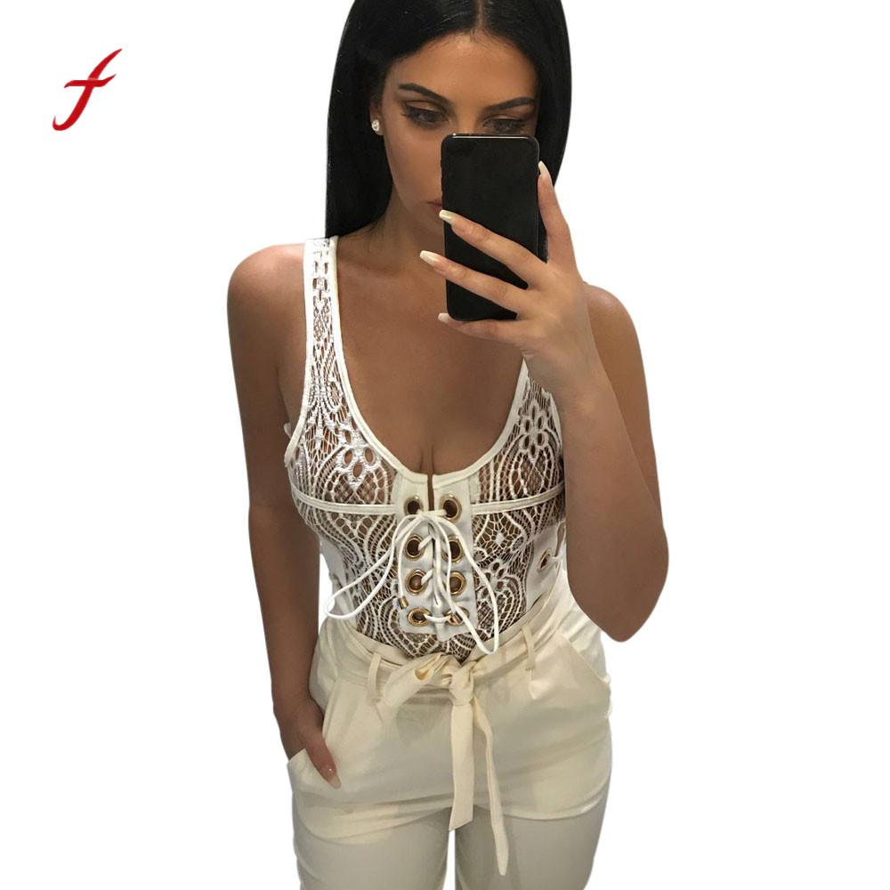 Realistic Summer Women Lace Romper Jumpsuit Sleeveless Sexy U Neck Leotard Cool In Summer And Warm In Winter