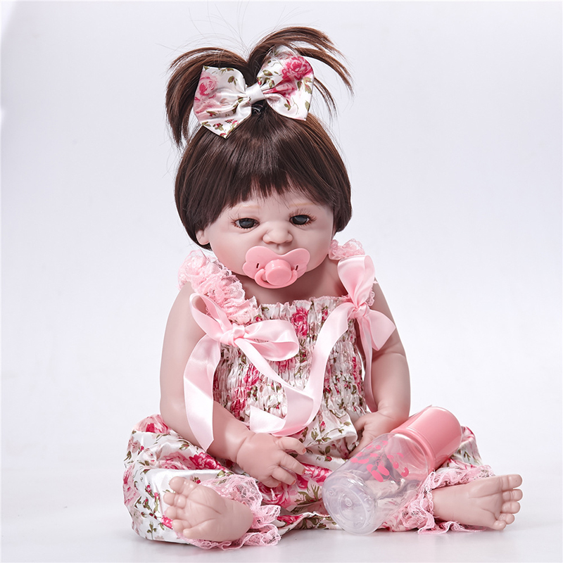 23 Inches Baby Reborn 58 cm Realistic BeBe Reborn Doll Baby Handmade Lifelike Full Body Silicone Sitting Position Baby Doll Toy