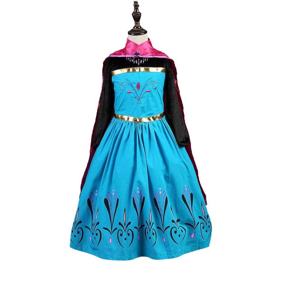 Fashion elegant 2 to 12 years long kids baby girls princess dresses costume with elsa cape