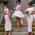 2017 Vintage Rosa da Luva do Tampão Appliqued Lace Comprimento Chá Vestidos de Dama de honra Traje Feito Elegante Encanto Sexy Vestido de Dama de honra