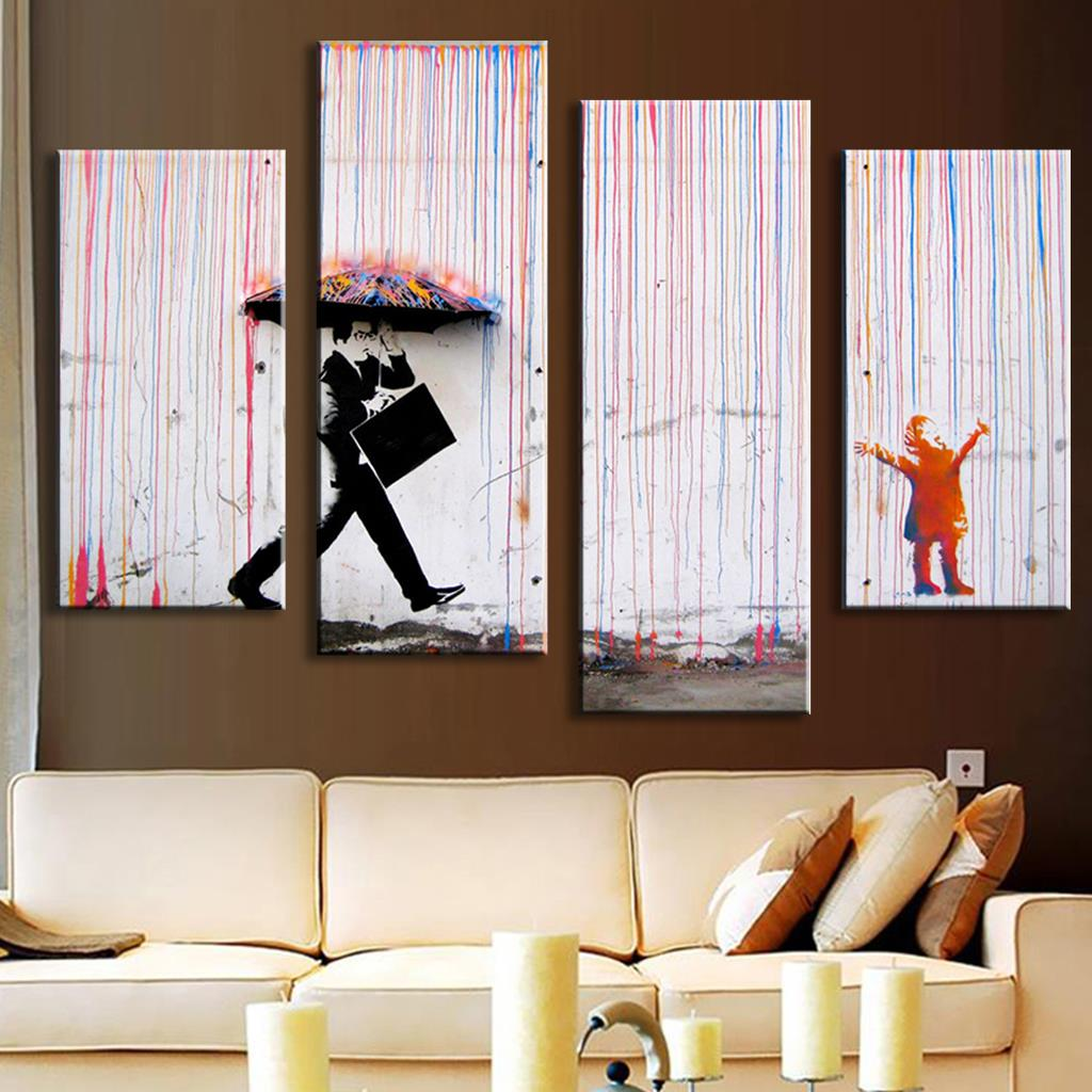 Modern Art Paintings For Living Room Aliexpresscom Buy 4 Pictures Banksy Art Colorful Rain Oil
