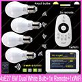 4x E27 Mi.Light 6W Color Temperature Adjustable Dual White CW/WW CCT LED Bulb AC85-265V+1x 2.4G Wireless Remote+1x WiFi Hub