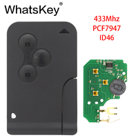 WhatsKey 5Pcs/Lot 433Mhz ID46 PCF7947 Chip Remote with emergency small blade Smart Car Key For Renault II Megane Grand Scenic