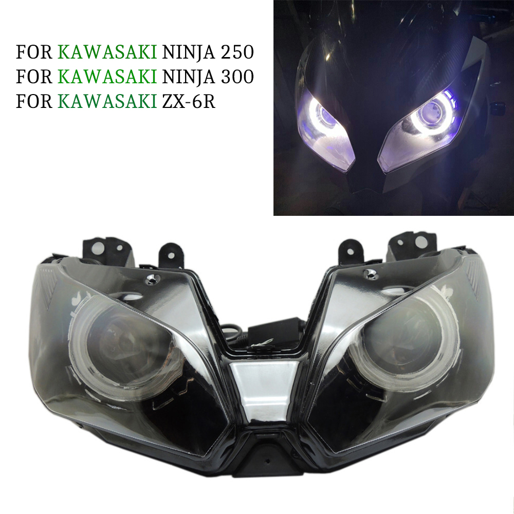 Angel Eye HID Projector Custom Headlight Assembly for Kawasaki Ninja 300 2013 2014 / EX300 Blue Accessories 50cm new power adapter cable 15 pin sata male to dual molex 4 pin ide hdd female