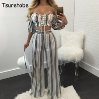 Tsuretobe Two Piece Set Casual Striped Outfits Summer 2017 Top And Long Pants Suit Conjunto Feminino