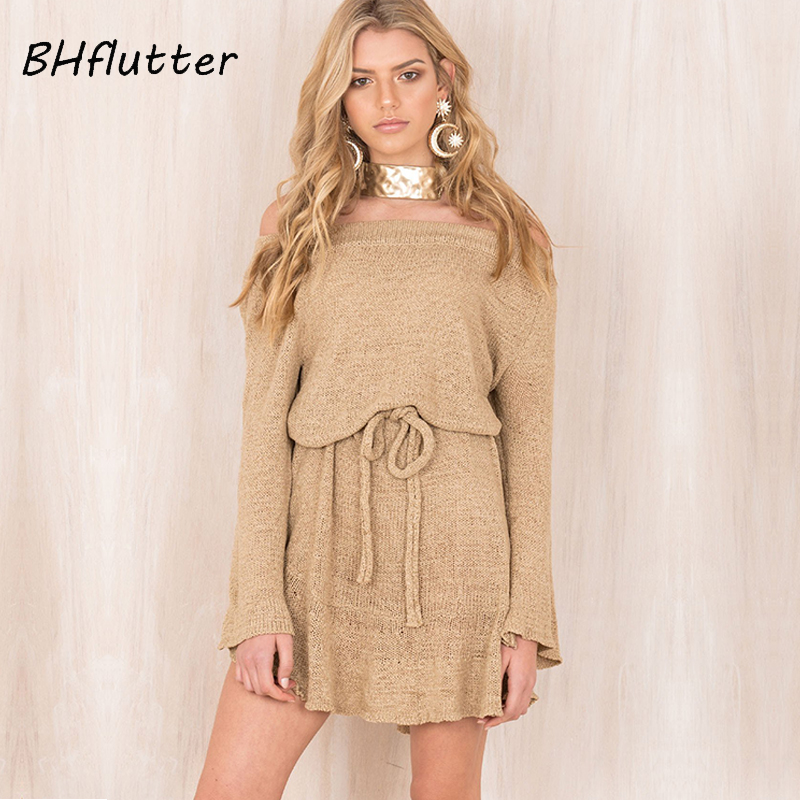BHflutter Sexy Off Shoulder knitted Dress Women Elegant Ruffle Short Sweater Dress Casual Belt Long Sleeve Autumn Winter Dresses