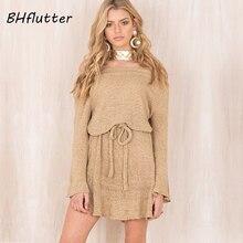 Bhflutter пикантные с открытыми плечами трикотажное платье Для женщин Элегантный рюшами Короткие Платья-свитеры Повседневное пояс с длинным рукавом Платья.Осень-зима