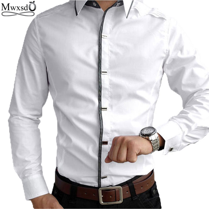 Top Quality Mwxsd mens casual manica lunga 100% cotone Camicie Uomo Rock Shirt Slim Fit solido camicia maschile
