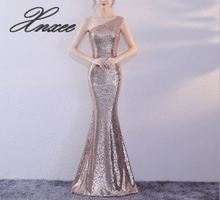 2019 ladies sexy off the shoulder halter banquet sequin dress