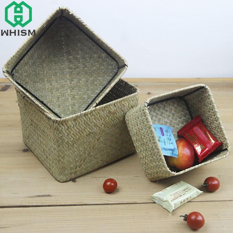 WHISM Seagrass Rattan Storage Basket Handmade Wickerwork Storage Box Woven Makeup Organizer Wicker Desktop Sundries Container