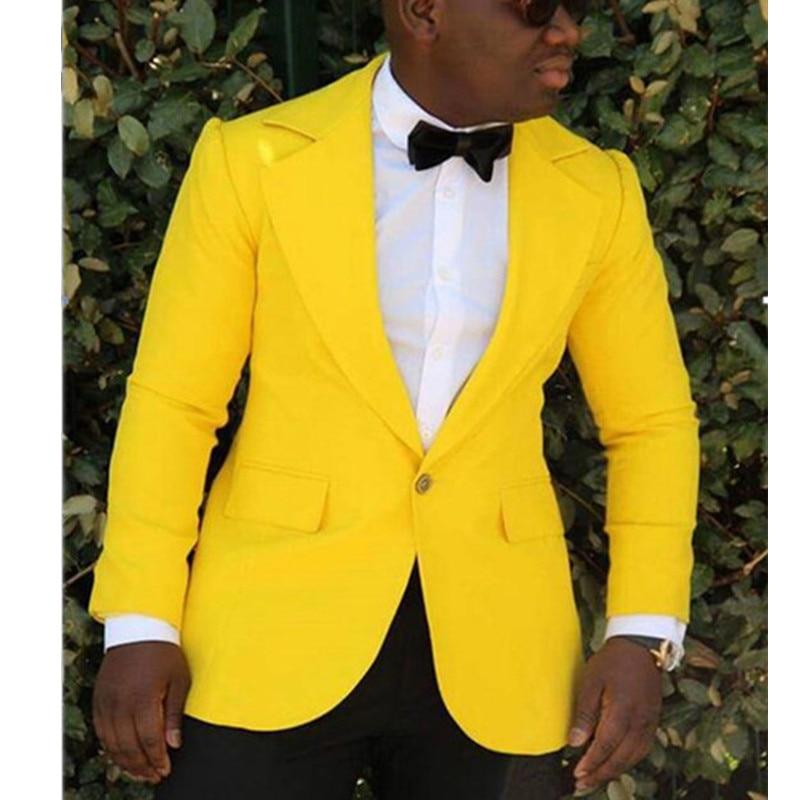 Costume de mode vêtements pour hommes grande taille costume masculin tour gap jaune personnalisé (veste + pantalon)