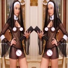 2015 New Sexy Costume Women Cosplay Nuns Uniform Transparent Sexy Lingerie Exotic Nun Halloween Costumes Dress
