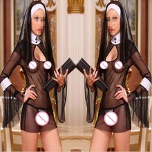 2015 New Sexy Costume Women Cosplay Nuns Uniform Transparent Sexy Lingerie Exotic Nun Halloween Costumes Dress Outfit Clothing