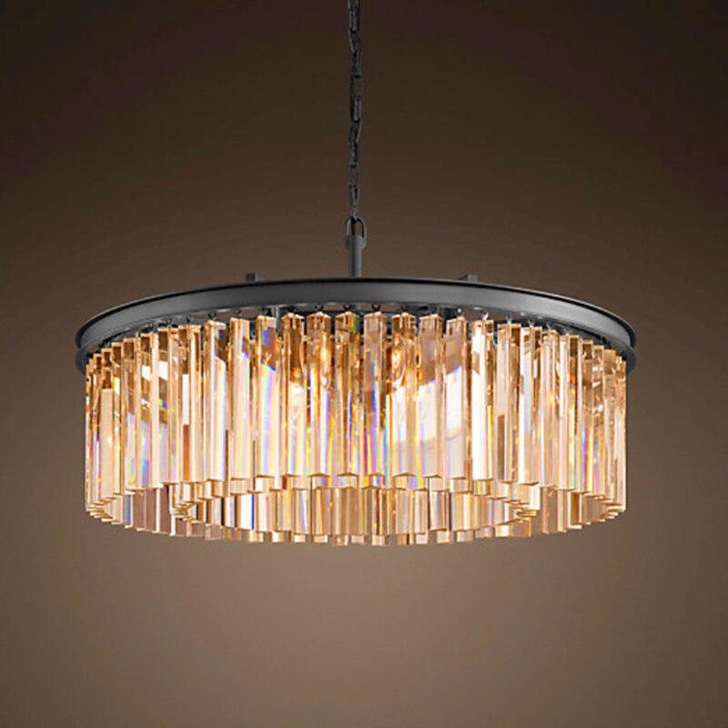 Loft Retro Crystal Chandelier Light for dining room led crystal chandeliers round lamp crystal K9 E14 pendant Lamp Lighting